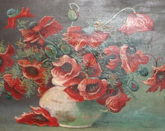 Antique oil painting poppy flowers signed
