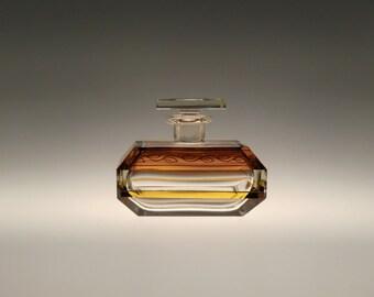 Bohemian Czech Art Deco Glass Perfume Bottle by Karl Palda