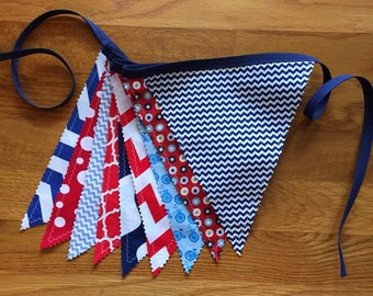Patriotic fabric banner, patriotic bunting, patriotic banner, 4th of July bunting, deployment homecoming, classroom decor, classroom bunting