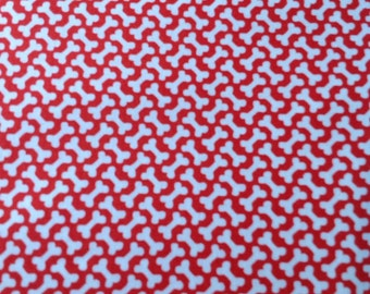 Here Boy, by Abi Hall for Moda,  Red Dog Fabric with White Bones, Fabric By The Yard, Cut From The Bolt