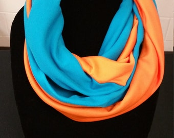 Teal and Orange twisted infinity scarf