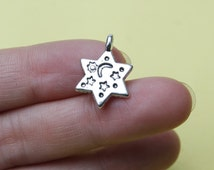 Crescent Moon and Star Charms Tibetan Silver Antique Silver Moon Star Charms   20*14mm