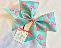 Flamingos Frenzy Sublimated Cheer Bow in pink/aqua, summer cheer bow, dyed cheer bow, cheer bow cheap