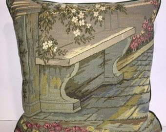 Vintage Italian Tapestry Pillow-101  Free shipping,free down feather insert.
