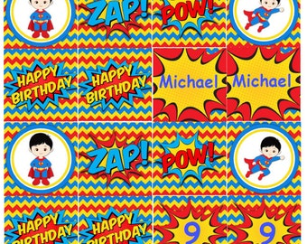 Superman Cupcake Toppers INSTANT DOWNLOAD Superman Birthday Party Cupcake Toppers Editable Text
