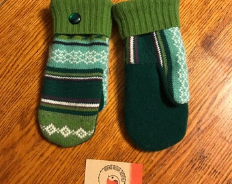 Recycled sweater mittens /Soft and warm handmade wool sweater mittens