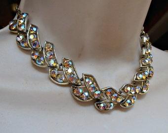 Aurora Borealis Rhinestone Necklace, 1960s Choker
