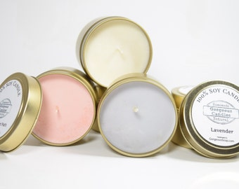 Natural Soy Candles - 4 oz Soy Candle Tin, Hand Poured Soy Candles, Scented Soy Candles Handmade, Aromatherapy Candles, Tin Candle Gift Idea