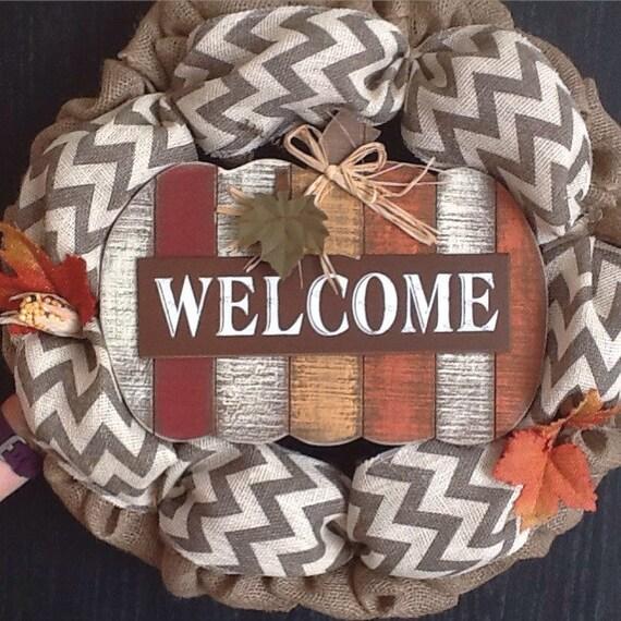 Fall Wreath, Chevron Wreath, Pumpkin Wreath, Fall Decor