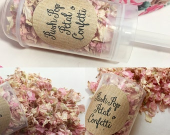 Push Pop Confetti rose petals light pink and ivory wedding decorations Handmade Eco Friendly natural