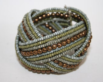 Designer Style Womans Wristband Beaded Bracelet Ethnic Tribal Style Plaited
