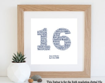 16th ANNIVERSARY GIFT - Word Art - Printable Art - 16 Year Anniversary - 16th Wedding Anniversary - Personalised Gifts - Last Minute Gift