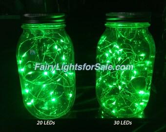 3m/9.8ft 1 set Green 30 LED fairy light string strand cr2032 button battery for DIY, centerpiece, vase, wedding, costume, EDM, St Patrick's