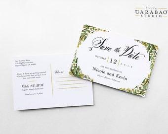 Save The Date Postcard Floral Wedding Bohemian Tuscan Save The Date Post Card - 4x6 Wedding Announcement - Little Carabao Studio #BW101