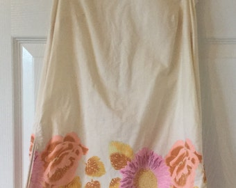 Vintage Cream A-line Dress With Flower Pattern