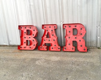 Metal Letter BAR marquee sign with globe bulbs. UL listed good indoors and out.