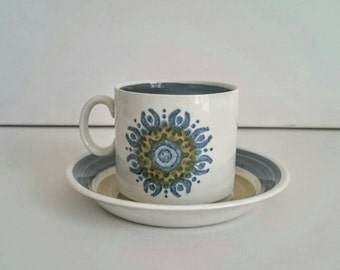 Burleigh Ironstone Cup and Saucer in the Castile Pattern