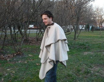 Double layered woolen poncho,medieval,elven,mantle,coat,tunic