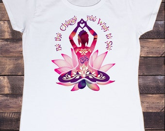 Women's White T-Shirt Buddha 'Be The Change You Wish To See' Zen Hobo Print TS226