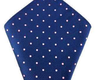 Mens Pocket Square.Navy Blue polka dot Handkerchief.Formal Suit .Pocket squares. Hanky. Tuxedo Tie Necktie Pocket Square.