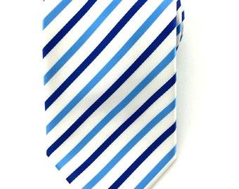 Mens Necktie Blue White Striped 8.5 cm Necktie. White Stripes Ties. White Wedding Ties. Groomsmen Neck Tie. Formal Blue Ties. Business Ties