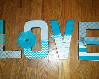 "8"" Paper Mache Custom Love Letters - Grey, Teal, White"