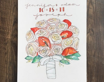 Personalized Wedding Bouquet Painting- Pen and Watercolor