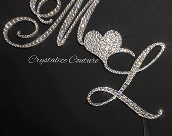 BLING 2 initial cake topper embellished in Swarovski crystals, wedding cake topper, cake bling!