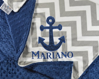 Nautical Blanket, Personalized Baby Blanket, Personalized Nautical Blanket, Anchor Applique Blanket, Choose Your Size & Colors