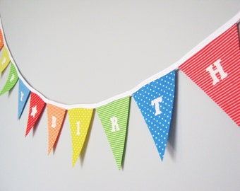 Felt Happy Birthday Bunting Banner Garland Rainbow Spots and Stripes can be personalised