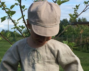 Boys Linen hat beige, sun hat, summer linen hat, boys hat, newsboy hat, Toddler boy hat, Linen newsboy cap, handmade linen hat