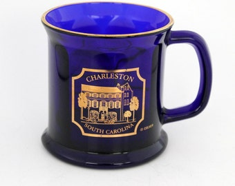 South Carolina Souvenir Mug, Cobalt Blue, Charleston SC Souvenir Cup,
