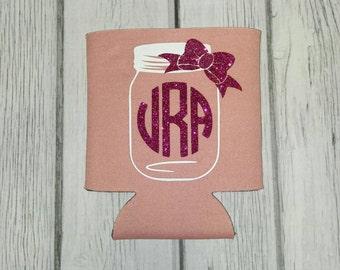 Mason Jar Monogram Can Cooler ~ Personalized Beverage Holder