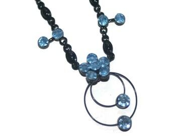 Vintage Black and Blue Flower Necklace