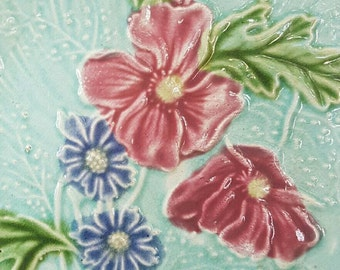 Pretty SALINS  Antique French Turquoise Faience Barbotine Majolica Flower Plate