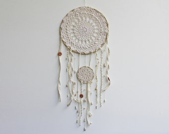 Double dreamcatcher with shells, cream dreamcatcher, cotton lace doily, boho dream catcher, wedding decor, good vibes