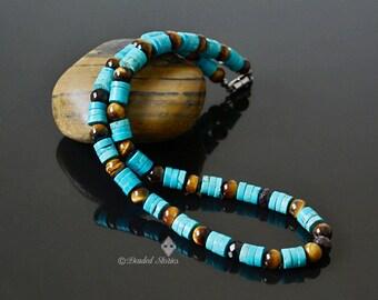 December birthstone jewelry Native American necklace January birthstone jewelry Southwestern jewelry Turquoise Garnet Tigers Eye Mens choker