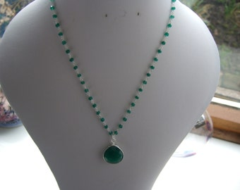 """Green Onyx, July's & Leo's Birthstone, 925 Sterling Silver 16.5"""" or 17"""" Rosary Chain Necklace with or without Bezelled Green Onyx Pendant"""