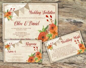 Personalised Rustic Lace & Burlap Bunting Autumn Rust Floral Wedding Invitations