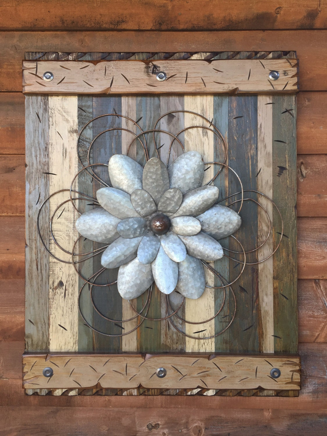 FLOWER Rustic Sign Reclaimed XL Shutter Barn Wood Distressed