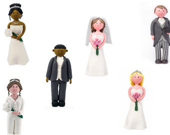 Clay Dough Bride & Groom Cake Toppers