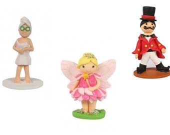 Clay dough Cake Toppers. Spa Lady. Ring master. Fairy. Perfect for an instant finish for cakes