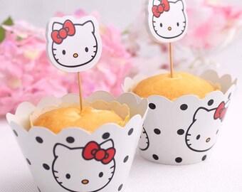 Hello Kitty Cupcake Wraps & Picks (12 of each).