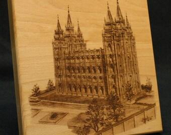 Wood LDS Temple Tile