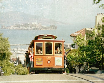 San Francisco Cable Car Print, California Photography, Alcatraz, Transportation, Streetcar, California Photo, Fine Art Print, Home Decor
