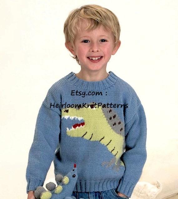 Kids Dinosaur Sweater Jumper 22-30 DK/ by HeirloomKnitPatterns