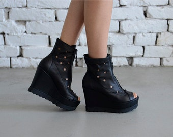 NEW! Black Leather High Heel Boots/Black Dotted Shoes/Casual Black Wedges/Cool Open Toe Summer Boots/Zipper Ankle Boots/Urban Style Shoes