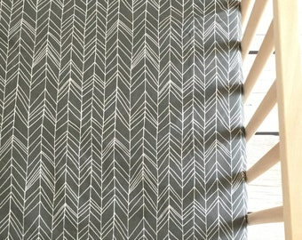 Crib Sheet in Dark Gray Herringbone. Crib Sheet. Fitted Crib Sheet. Toddler Crib Sheet. Herringbone Crib Sheet. Gray Crib Sheet.Baby Bedding