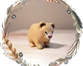 Female Lion Cub Spirit Animal Totem // Miniature Handmade Polymer Clay Animal Figurine