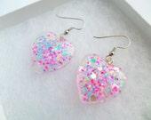 Heart Shaped Glittery Pair Of Resin Earrings Opal Stars Kawaii Kitsch Pastel Candy Rave Festival Summer Charm Carnival Kitsch Playful Pastel